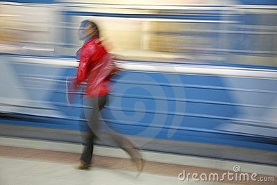 Motion girl with train