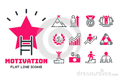 Motivation concept chart pink icon business strategy development design and management leadership teamwork growth Vector Illustration
