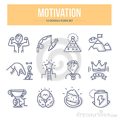 Motivation Doodle Icons Vector Illustration