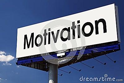 Motivation word on billboard.