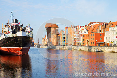 Motlawa quay and old  Gdansk