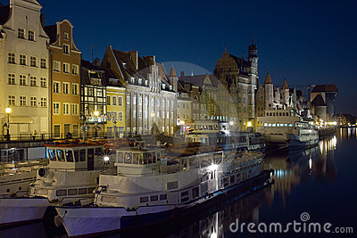 Motlawa River, Gdansk at night.