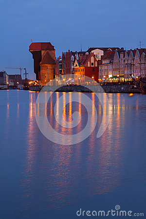 Motlawa river  and old  Gdansk at night