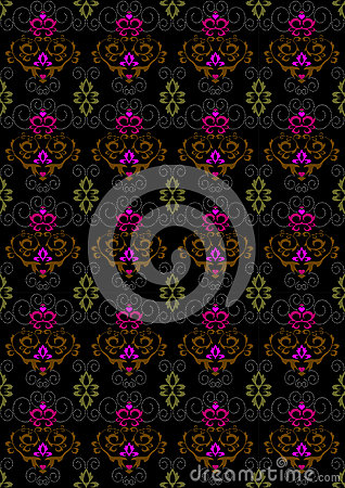 Motley seamless  background with floral ornament
