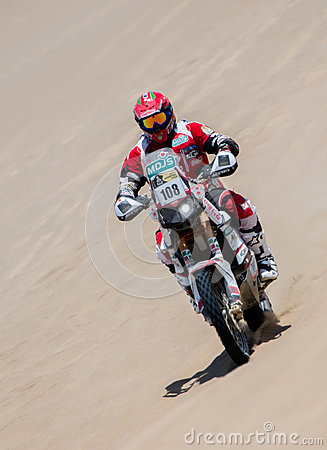 Moto biker races a Rally Editorial Photo