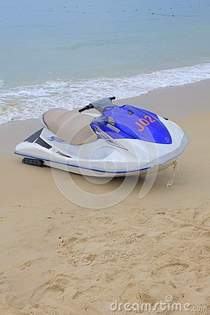 Moto boat on sand