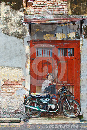 Motobiker Street Art at George Town Editorial Photo