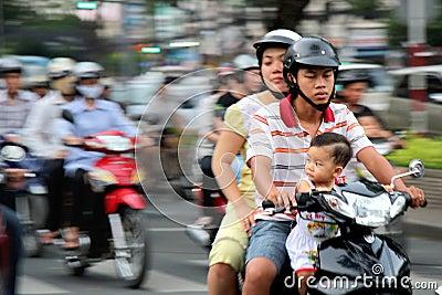 Motobikes nel Vietnam Fotografia Editoriale