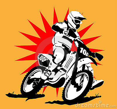 Motocross Illustration  with Star Background : Dreamstime