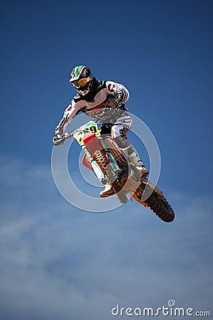 Motocross dirtbike in the air