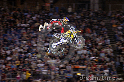 MOTOCROSS EXTREME SPORT STUNT RIDER ON A DIRT BIKE Editorial Photography
