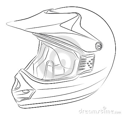 Motocross helmet drawing