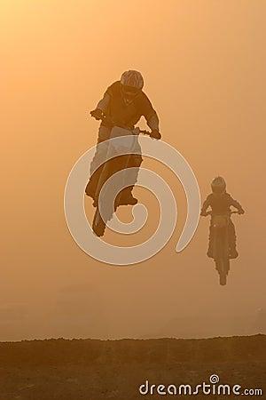Motocross jump in dusty