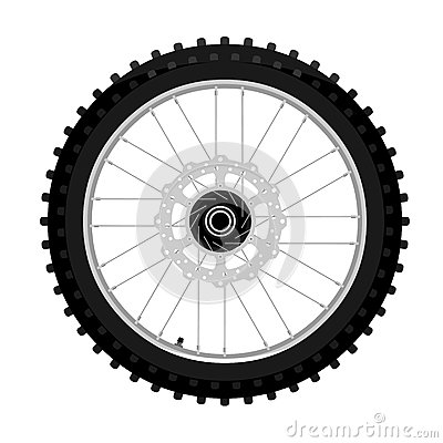 Free Motocross Motorcycle Front Wheel With Brake Disk Left Side View Graffiti Style Isolated Illustration Stock Photos - 93464093