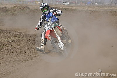 Motocross, motorcycle riders, turn Editorial Stock Photo