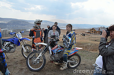 Motocross racers group rest Editorial Photography