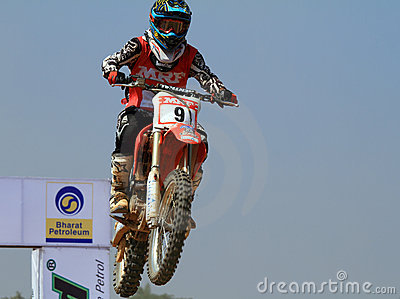 Motocross rider Veer Patel jumping the tabletop Editorial Stock Photo