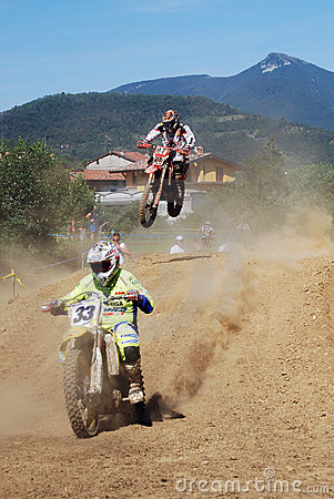 Motocross riders in the air Editorial Stock Image