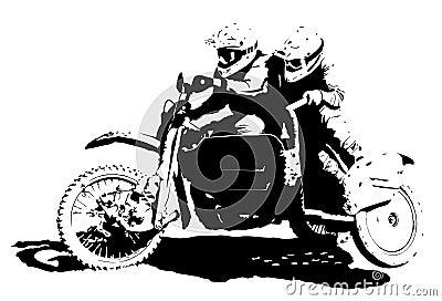 Sidecarcross Illustration : Dreamstime