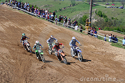 Motocross-after start. Editorial Image