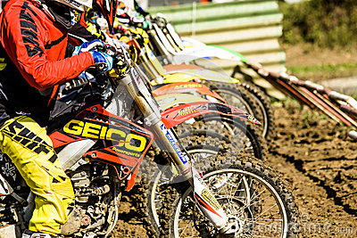 Motocross start line Editorial Stock Photo