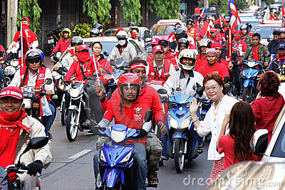 Motocycle protesters of the red shirt in Thailand Editorial Image
