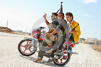 Motocycle rebels, Azaz, Syria. Editorial Photography