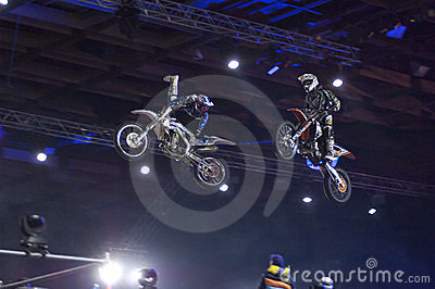 Motofreestile. Two riders in air Editorial Photography