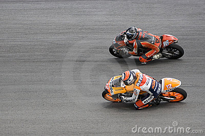 Motogp 125cc Side-by-Side Racing Action Editorial Photo