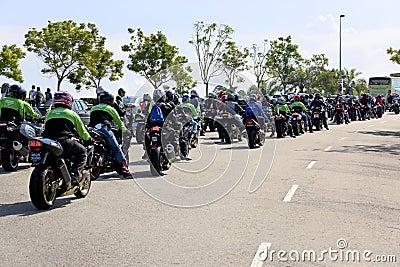 Motogp Biker Convoy Editorial Stock Image