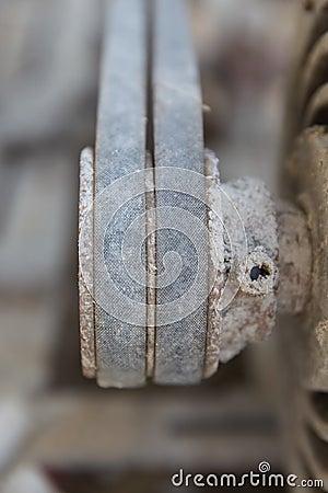 Motor,belt,rust,worn-out,black Stock Photo