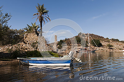 Motor boat in bay
