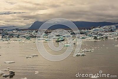 Motor boat in Jokulsarlon Lagoon - Iceland.