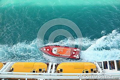 Motor boat near cruise ship.