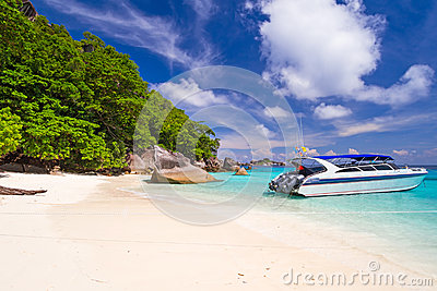 Motor boat at tropical beach of Similan Islands