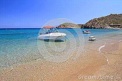 Motor boat at Vai beach on Crete
