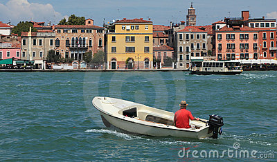 Motor boat in Venice Editorial Stock Photo