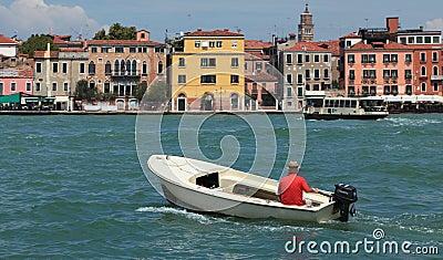 Motor boat in Venice Editorial Stock Photo