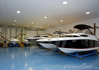 Motor boats in hangar
