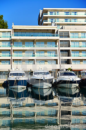 Motor boats in marina in Croatia