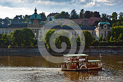Motor boats in the Vlatva river, Prague Czech.
