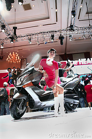 motor cycle show and girl Editorial Photo