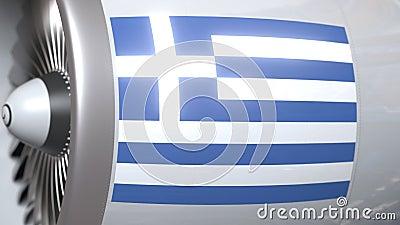 Motor do avião com a bandeira de Grécia Animação 3D conceptual do transporte aéreo grego video estoque
