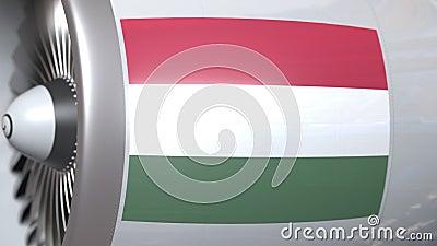 Motor do avião com a bandeira de Hungria Animação 3D conceptual do transporte aéreo húngaro video estoque