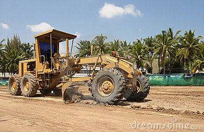 Motor grader working on road construction