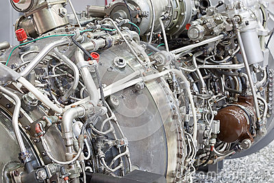 Motor of helicopter on exhibition