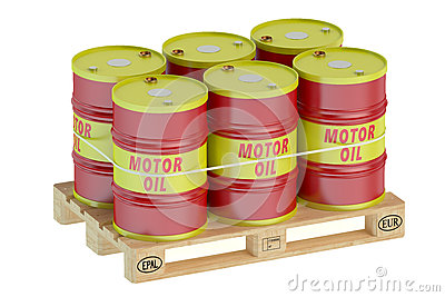 Motor oil barrels on pallet stock illustration image for Motor oil by the barrel