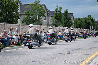 Motor-police High fiving crowd Editorial Stock Photo