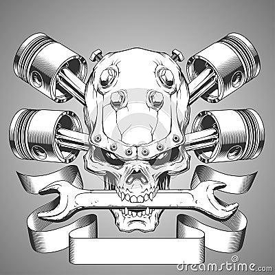 Free Motor Skull Emblem Royalty Free Stock Image - 54795506