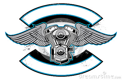 Sticker 3d motor - Motorbike Club Badge With Engine And Wings Royalty Free